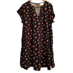 NWT VIBE Sportswear Black Floral Roses Dress 3X